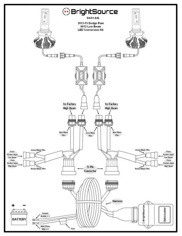 9012 Low Beam LED Conversion Kit Diagram